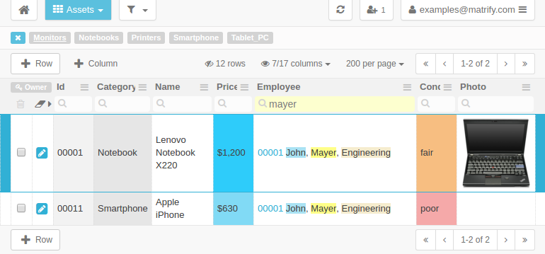Example Table Assets with links to Table Employees