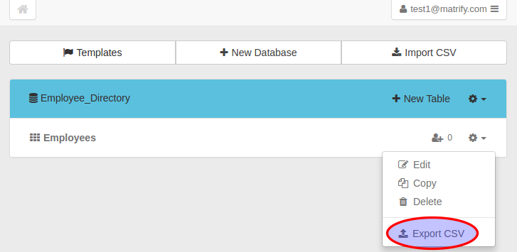 Export CSV from Dashboard